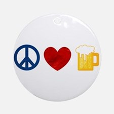 Peace Love Beer Ornament (Round)