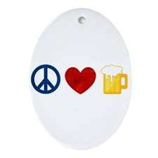 Peace Love Beer Ornament (Oval)