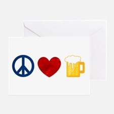 Peace Love Beer Greeting Card