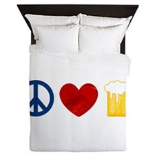 Peace Love Beer Queen Duvet