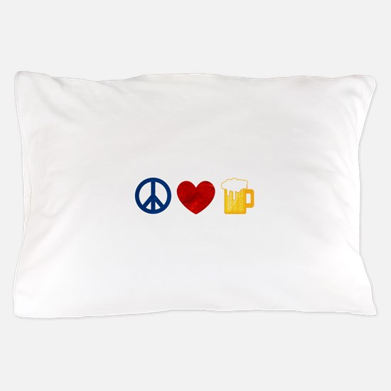 Peace Love Beer Pillow Case