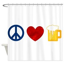 Peace Love Beer Shower Curtain