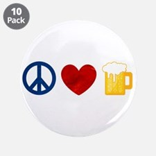 """Peace Love Beer 3.5"""" Button (10 pack)"""