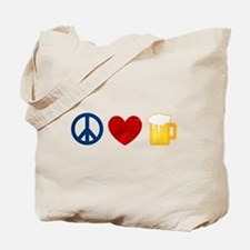 Peace Love Beer Tote Bag