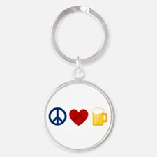 Peace Love Beer Round Keychain