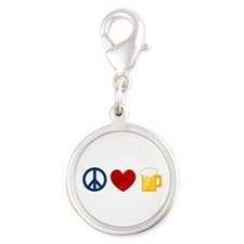 Peace Love Beer Silver Round Charm