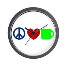 Peace Love Coffee Wall Clock