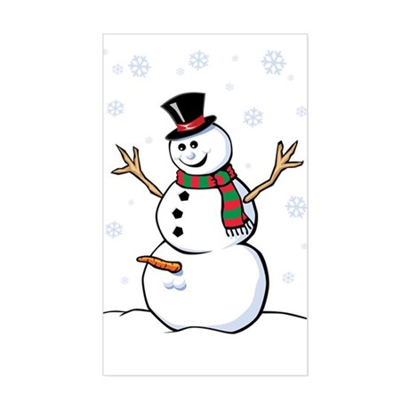 Naughty Snowman Sticker (Rectangle)