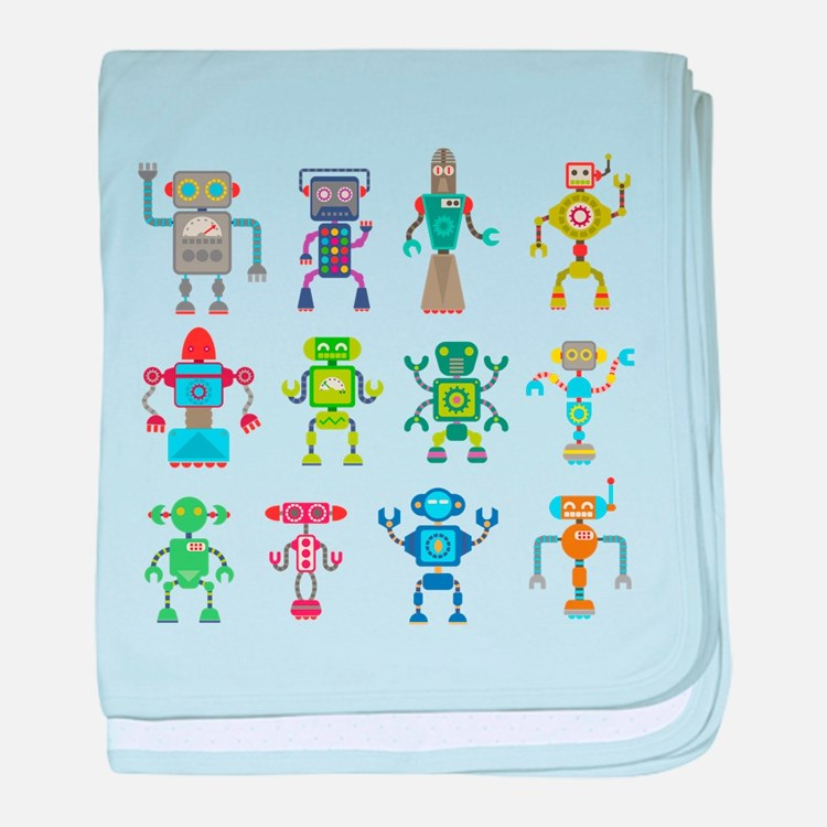 Robots by Phil Atherton baby blanket