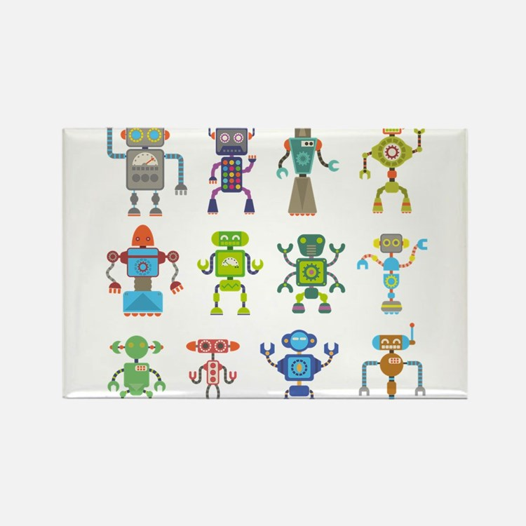 Robots by Phil Atherton Rectangle Magnet