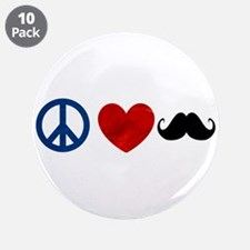 "Peace Love Mustache 3.5"" Button (10 pack)"