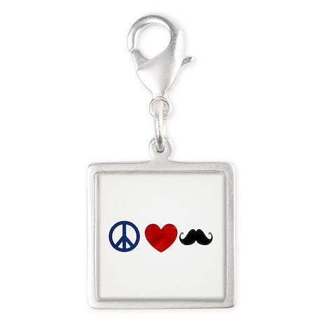 Peace Love Mustache Silver Square Charm