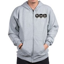 Eat, Sleep, Band logos/icons aligned in a row Zip Hoodie