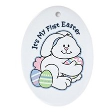 Bunny 1st Easter Ornament (Oval)