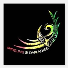 "Pipeline 2 Paradise Radio Square Car Magnet 3"" x 3"