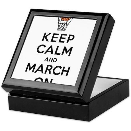 Keep Calm and March On Keepsake Box