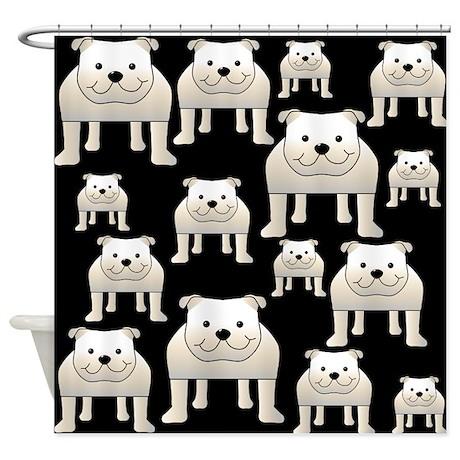 Bulldogs, on Black. Shower Curtain