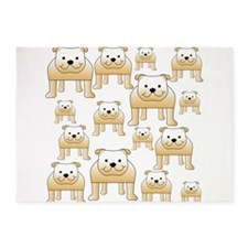 Tan Color Bulldogs. 5'x7'Area Rug