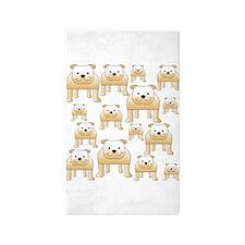 Tan Color Bulldogs. 3'x5' Area Rug