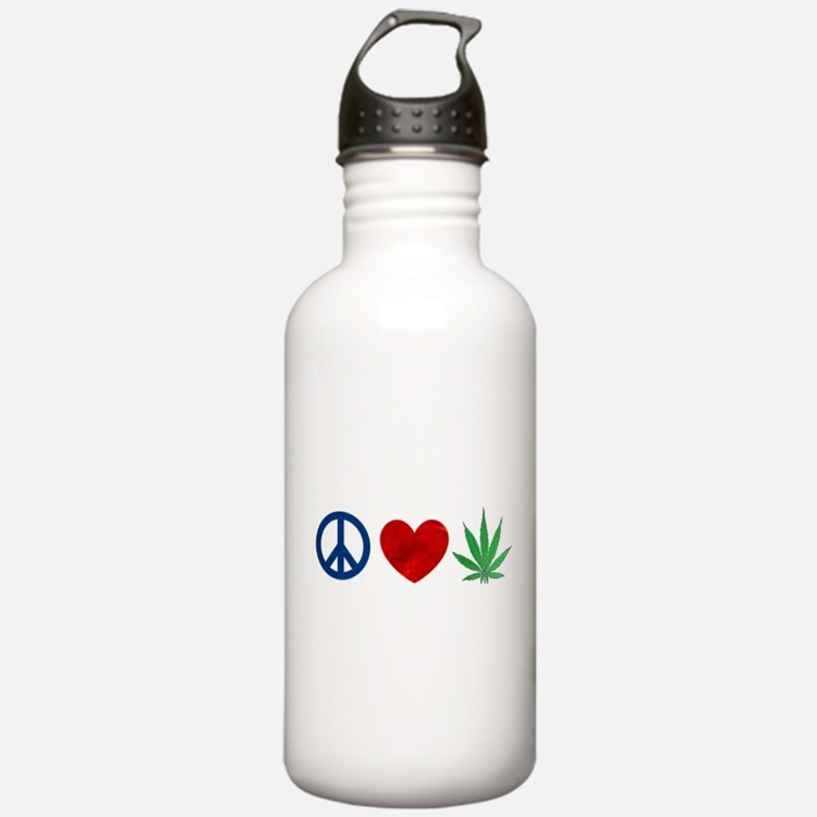 Peace Love Weed Water Bottle