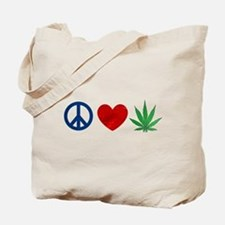 Peace Love Weed Tote Bag