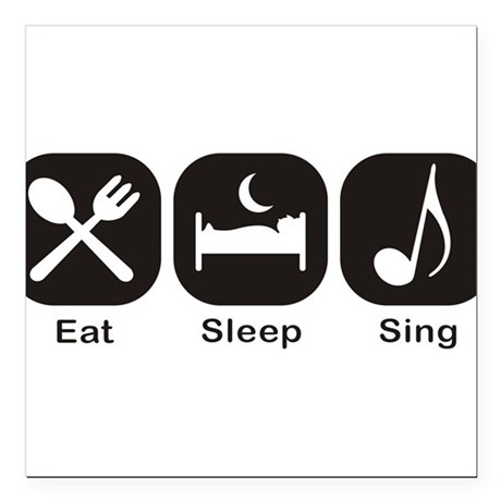 """Eat, Sleep, Sing Square Car Magnet 3"""" x 3"""""""