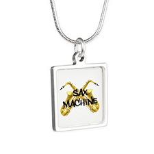 Sax Machine! Silver Square Necklace