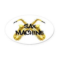 Sax Machine! Oval Car Magnet