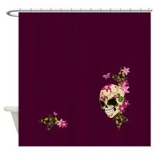 Sugar Skull on Purple2 Shower Curtain
