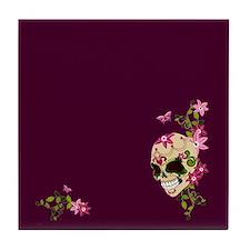 Sugar Skull on Purple2 Tile Coaster