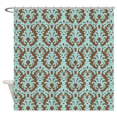Turquoise and brown damask shower curtain by beachbumming - Brown and turquoise curtains ...