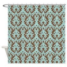 Turquoise and Brown Damask Shower Curtain