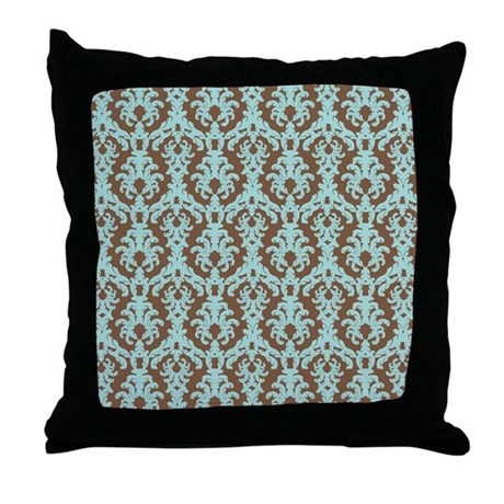 Turquoise and Brown Damask Throw Pillow by BeachBumming