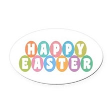 Happy Easter Oval Car Magnet