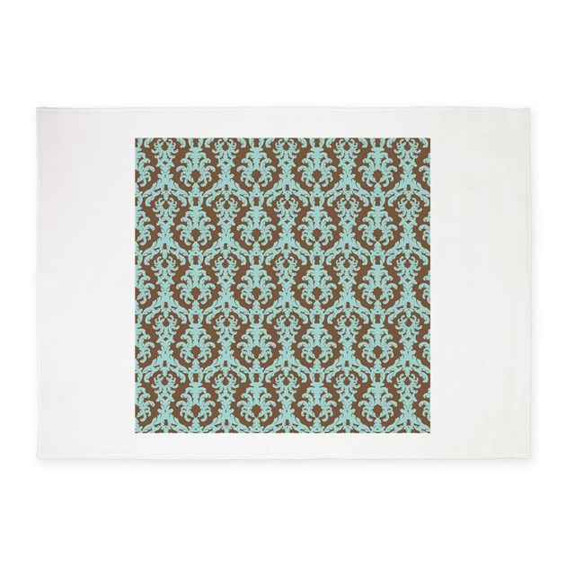 Chocolate Brown and Turquoise Damask 5 x7 Area Rug by