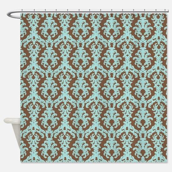 brown and turquoise shower curtain. Chocolate Brown and Turquoise Damask Shower Curtai Blue And Curtains  CafePress