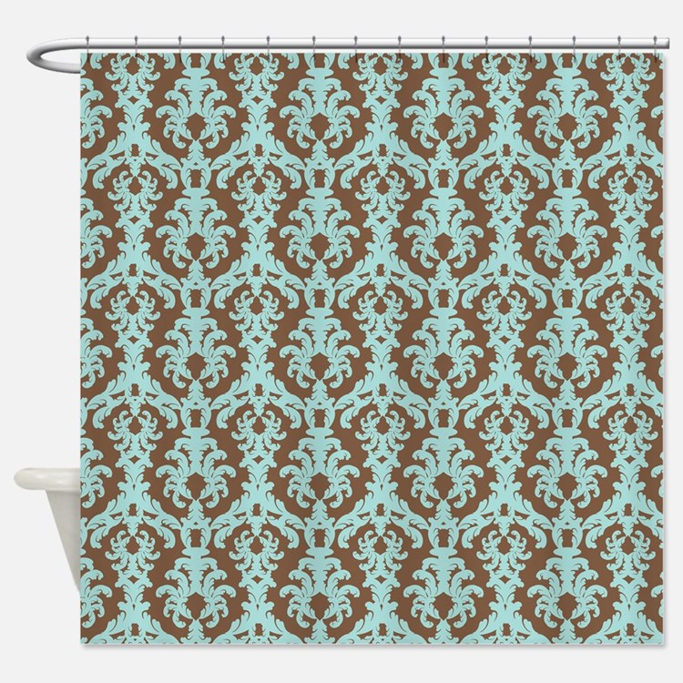 Chocolate Brown and Turquoise Damask Shower CurtaiDamask Blue And Brown Shower Curtains   Damask Blue And Brown  . Brown And Turquoise Shower Curtain. Home Design Ideas
