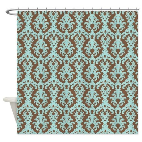 Chocolate Brown And Turquoise Damask Shower Curtai