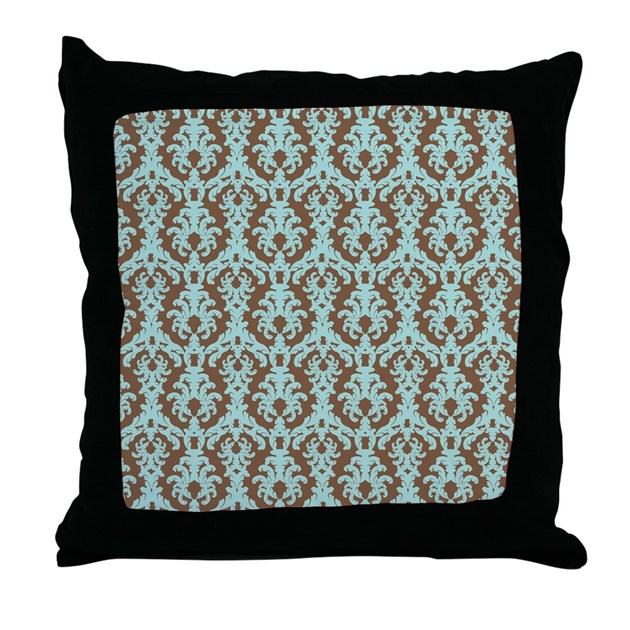 Chocolate Brown and Turquoise Damask Throw Pillow by