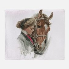 Vintage Girl And Horse Throw Blanket