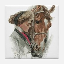 Vintage Girl And Horse Tile Coaster