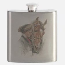 Vintage Girl And Horse Flask