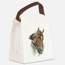 Vintage Girl And Horse Canvas Lunch Bag