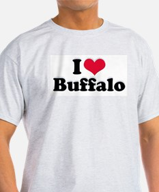 I Love Buffalo (with snow) Ash Grey T-Shirt