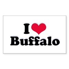 I Love Buffalo (with snow) Rectangle Decal
