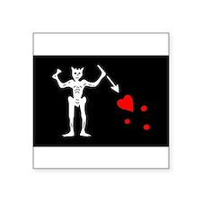 Black Beard Jolly Roger Rectangle Sticker