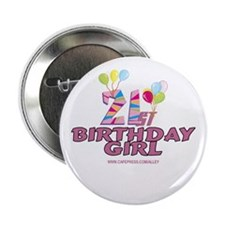 21st Birthday Girl Button