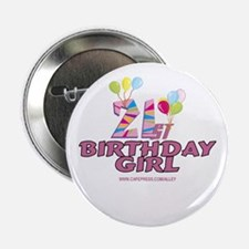 21st Birthday Girl Button