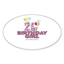 21st Birthday Girl Oval Decal