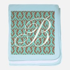 B Initial Damask Turquoise and Chocolate baby blan